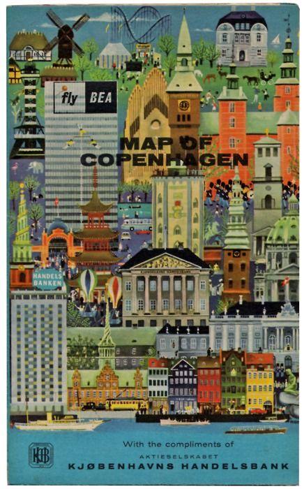 Vintage map of Copenhagen (c. 1964), via Delicious Industries.