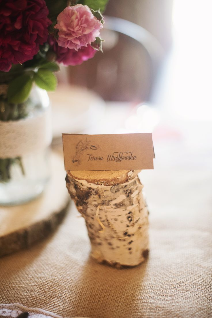 Wooden stands for guests names by GRUNT STUDIO