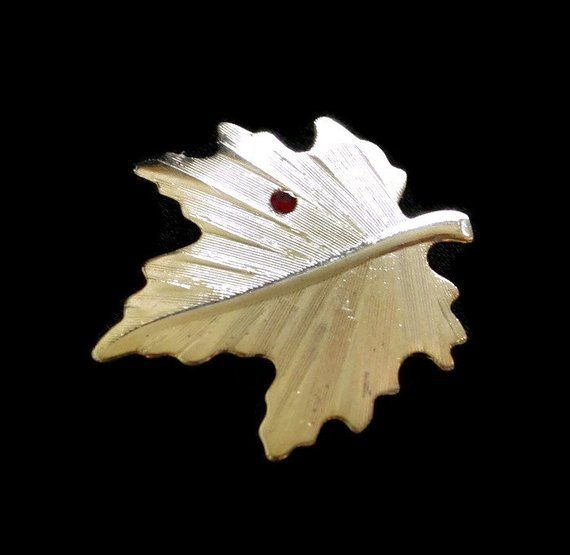 40283df39 Maple Leaf Brooch Pin With Red Rhinestone, In Gold Tone, Fall Jewelry, Autumn  Jewelry, Leaf Jewelry