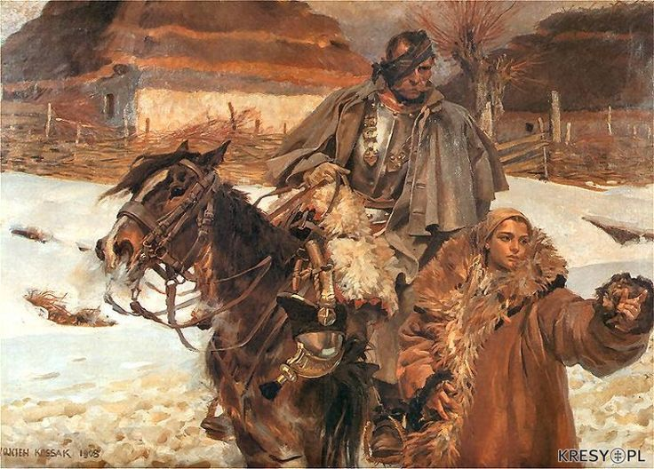 Wojciech Kossak - Ranny kirasjer z dziewczyną, 1908