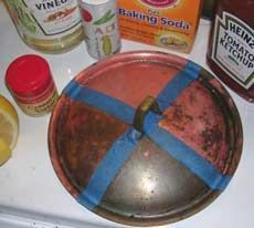 Cleaning copper/brass: Mix one teaspoon salt, one tablespoon flour and enough vinegar to make a thick paste. Rub paste on surface and let dry completely. Rinse in warm soapy water, buff with clean soft cloth. [This worked like a charm on my old and very dirty vessel sink/bucket.]
