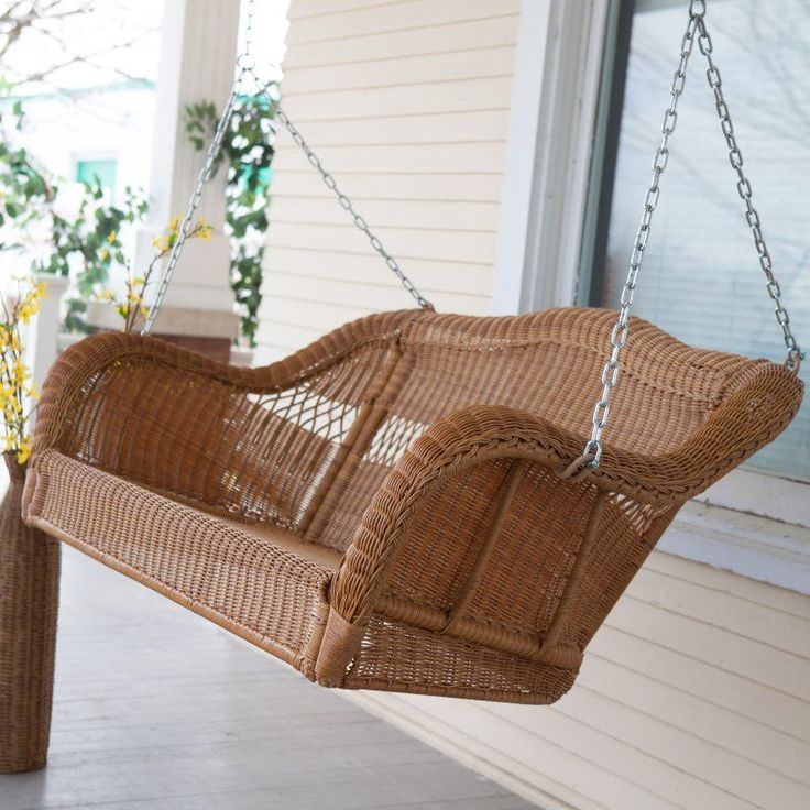Coral Coast Casco Bay Resin Wicker Porch Swing with Optional Cushion Timeless Gray Walnut - CWR018-127