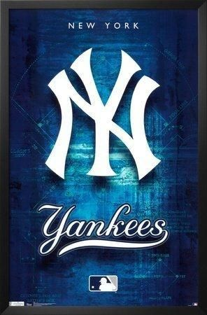 Professionally Framed New York Yankees Logo 2011 Sports Poster Print - 22x34 with Solid Black Wood Frame #ad