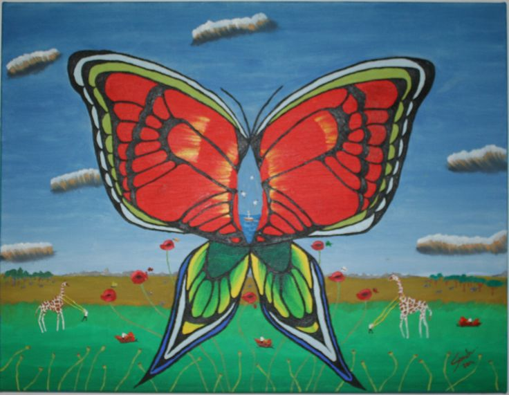 """Butterfly Over The Land"" ulei pe panza 50x65 cm - oil on canvas 20x25 inches"