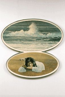 My mother, Natalie Forrestall, sleeping on a beach in Nova Scotia, by Tom Forrestall (b.1936), Dog, Girl and Beach, 1979 egg tempera on panel 108.8 x 114.8 cm, McMichael Canadian Art Collection