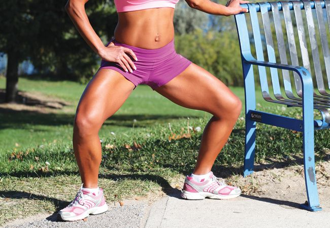 4 exercises for toned thighs and KILLER calves. First up, try the plie squat.