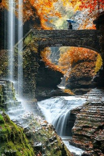 Rainbow Bridge and Falls, Watkins Glen, New York, USA Watkins Glen State Park is located outside the village of Watkins Glen, New York, south of Seneca Lake in Schuyler County in the Finger Lakes region.  Artists & Artlovers - Google+