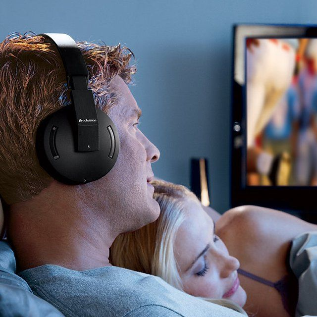 These 2.6GHz technology Brookstone Wireless TV Headphones allow you to enjoy high-quality sound at ear-blasting volumes without disturbing anyone else.