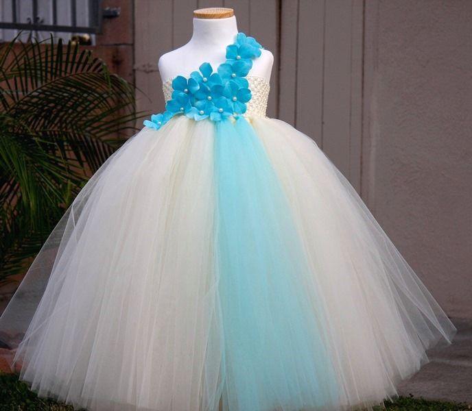 Ivory n Tiffany Blue Flowers Girls Tutu Dress