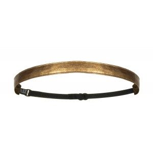 """5/8"""" Metallic Gold Faux Leather Non-Slip Adjustable Headband with Grip Clips"""