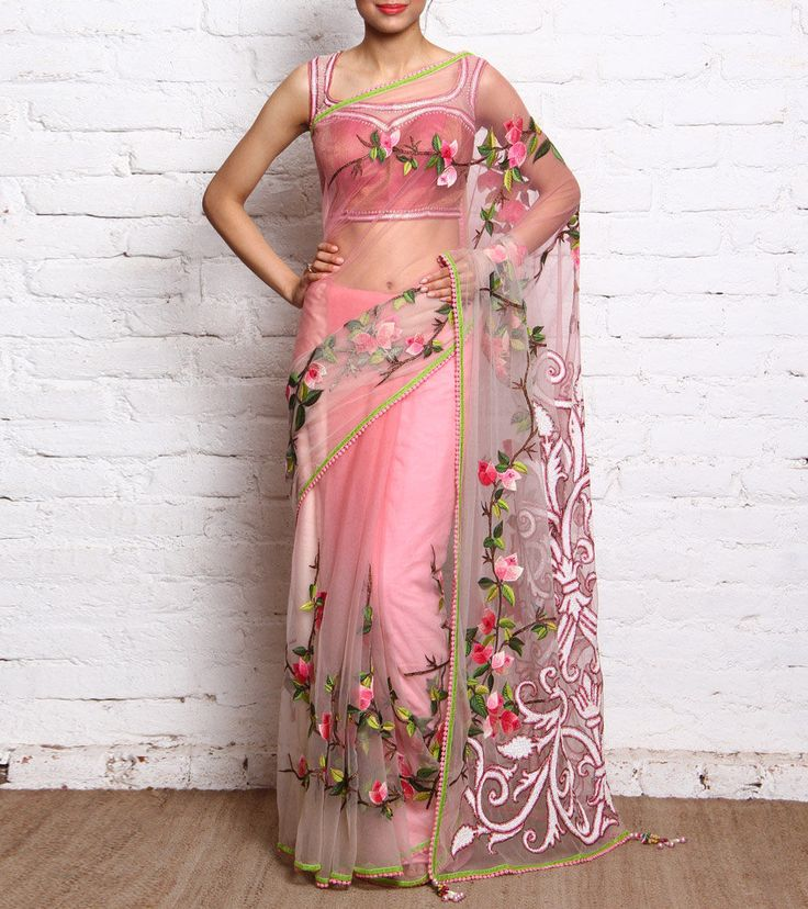 Ombre Pink & Beige #NetSaree with Embroidered Florals & #Blouse #Indianroots