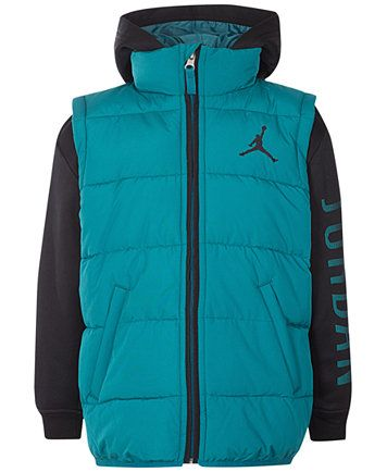 b651f8795bd4df Image 1 of Jordan AJ Hooded Layered-Look Puffer Vest Jacket