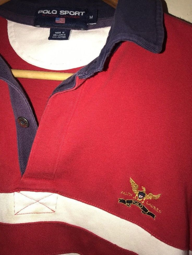 Vintage POLO SPORT Ralph Lauren Colorblock Polo  Long Sleeve Rugby P Wing Size M #PoloRalphLauren #PoloRugby