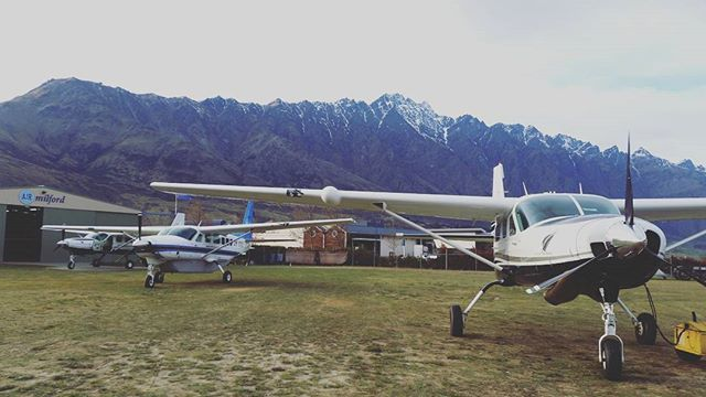 Our 3 Cessna Caravan's ready to go to Milford Sound this morning. ✈  Cessna Caravan's are the largest, most modern and safest aircraft that fly into Milford Sound.  #AirMilford