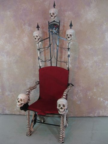 Bone Throne, hand made iron and bone chair, seven feet tall, over 120 pounds and fit for a king.