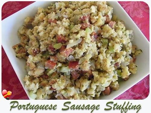 Easy Portuguese Sausage Stuffing. Delicious local style recipe. Get more recipes here.