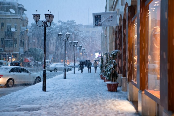 Damascus in winter. Looks like a high-end shopping street