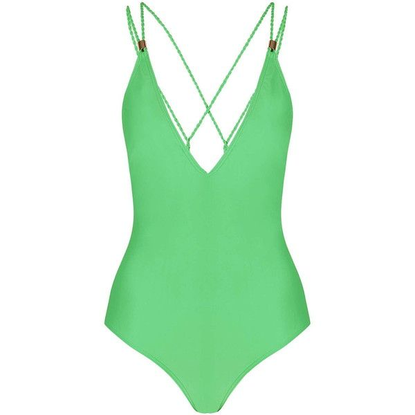 TopShop Twist Strap Swimsuit ($48) ❤ liked on Polyvore featuring swimwear, one-piece swimsuits, swim, green, swimming costume, swim swimwear, strappy swimsuit, one piece swimsuits and strappy bathing suit