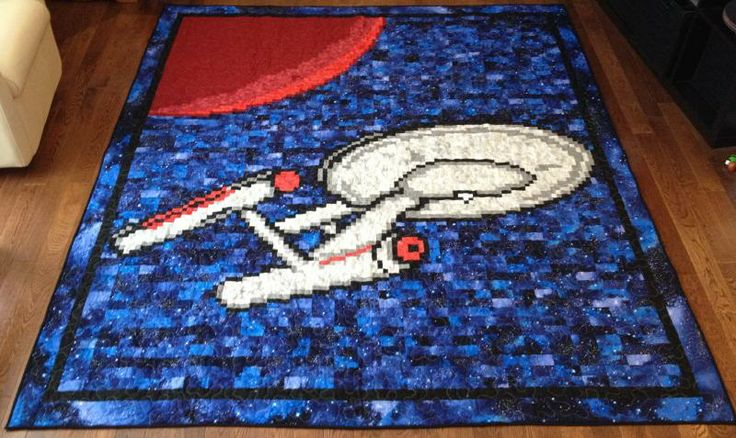 Star Trek Enterprise quilt--my dad would looooove to have this!