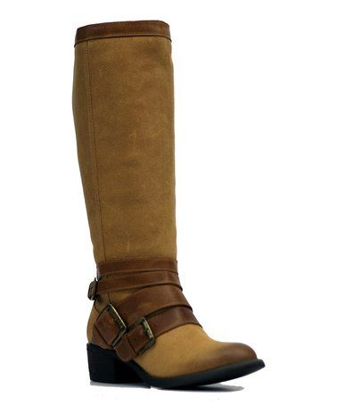 Camel Santa Fe Extra Wide-Calf Leather Boot #zulily #zulilyfinds