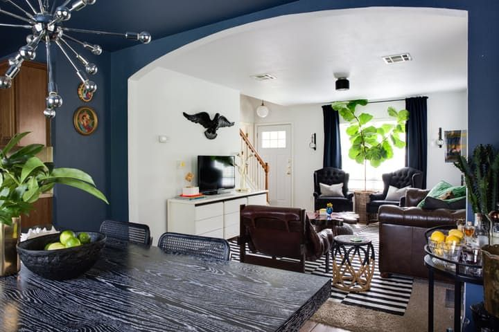 """Furniture layout in LR -- House Tour: """"Lived In"""" Contemporary Style in Austin 
