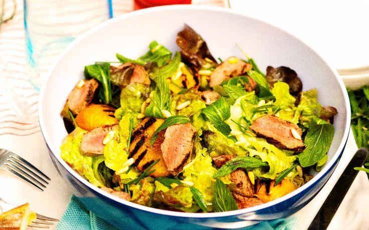 lamb backstrap, peach and pine nut salad