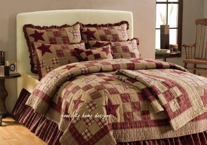 STAR PATCH 4pc Queen or King QUILT SET PRIMITIVE