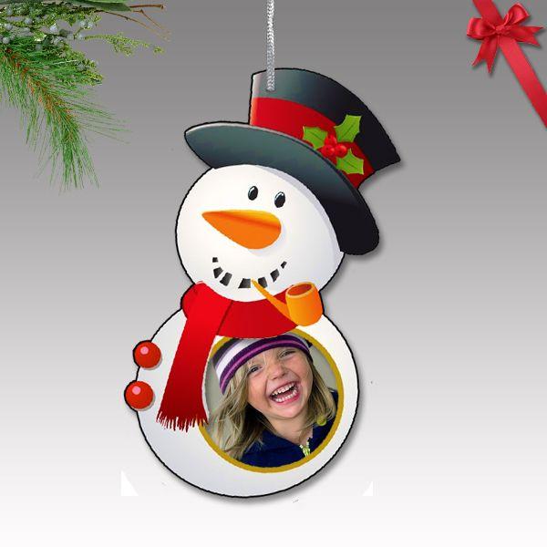 Fényképes karácsonyfa dísz - műanyag, hóember