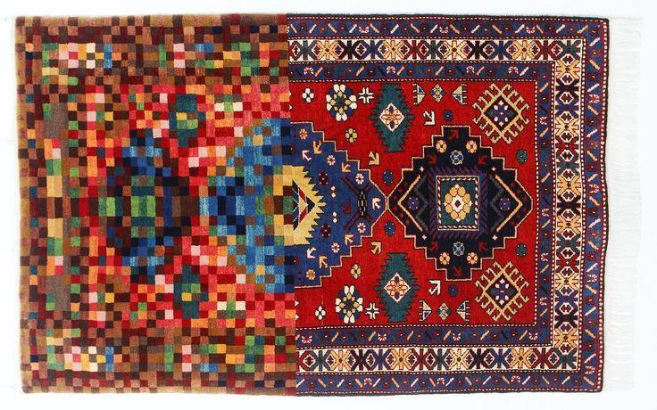 Faig Ahmed tradition in pixel 2010  Voici la découverte du jour. Faig a littéralement cassé Internet avec son idée de réinventer le design des tapis d'Orient. Je pense qu'au début il faut se laisser séduire par la beauté de ses œuvres. Ses détournements sont toujours imaginés selon  la même trame : comment recréer une forme nouvelle en partant d'un motif ancien associé avec une esthétique contemporaine. Le résultat (en vrai) est saisissant   #faigahmed #carpet #tapis #orient #silkroad…