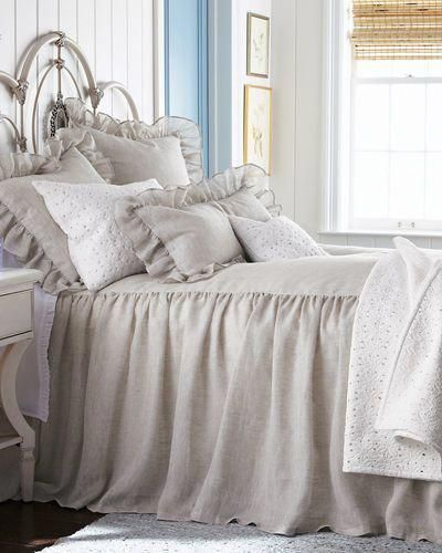 natural linen bedspread and ruffle shams give your bed a complete rh pinterest com