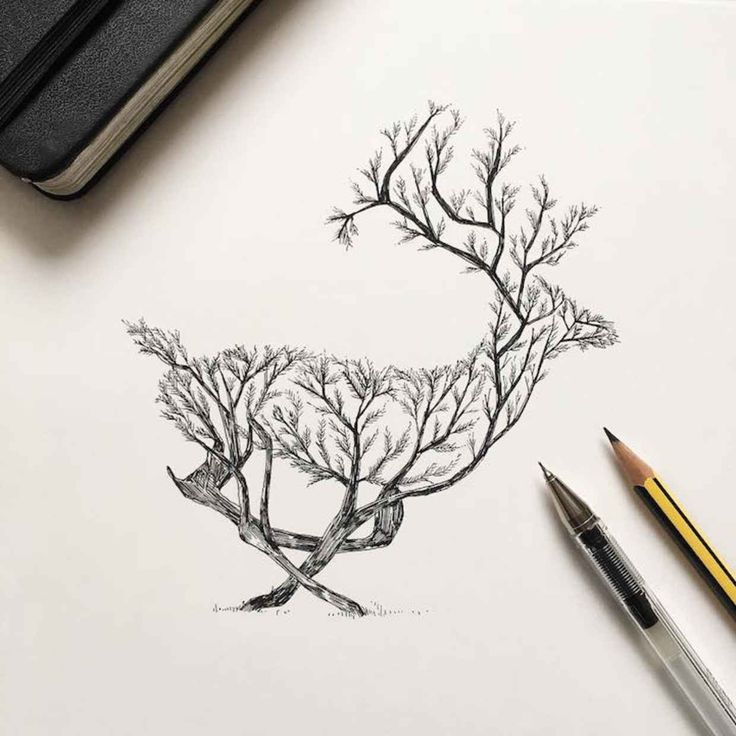 Natural Elements and Animals Fused Together in Intricate Pen Drawings