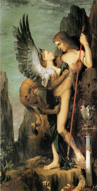 Oedipe et le Sphinx (1864) d'après G. Moreau
