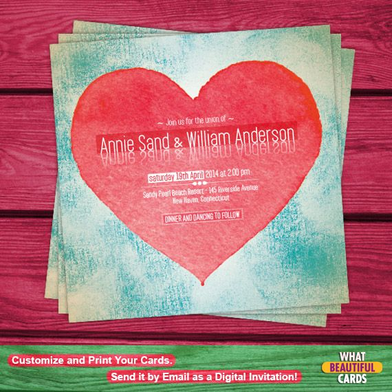 A Romantic and colorful invitation for the most important day of your life! Invite your dear ones to your wedding with this original and awesome invitation card!!!