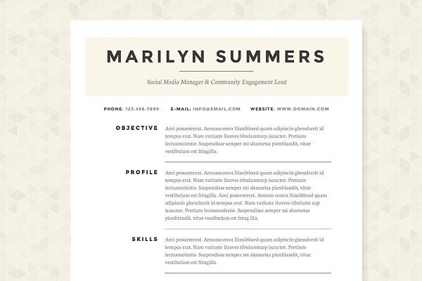 Classic Resume Template Package by JannaLynnCreative on