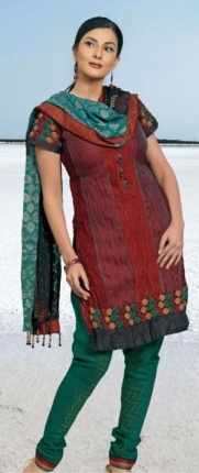 Salwar kameez with churidar pants (tight around the ankle) this is a very typical outfit in India, everyday wear
