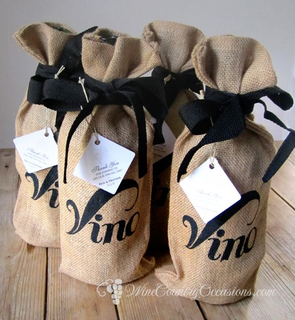 Mini bottles of wine for favors!  http://blog.winecountryoccasions.com/wp-content/uploads/2012/05/vino-jute-wine-bags.jpg