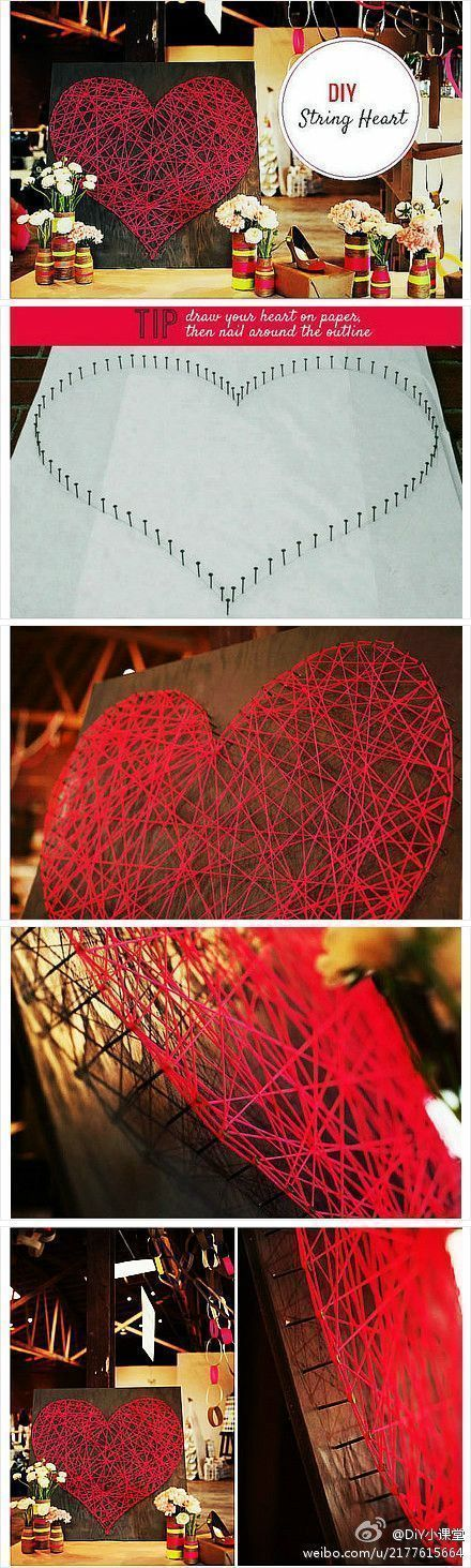 Valentines Day Group Project String Art Heart!