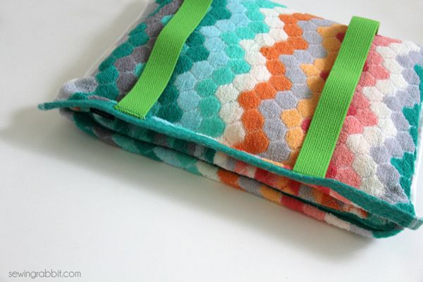 A towel bag made from hand towel, cotton webbing for straps, and a beach towel.  The directions were easy and very easy to follow.