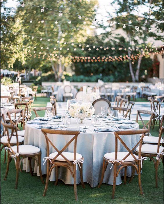 Dusty blue wedding reception decor idea 10
