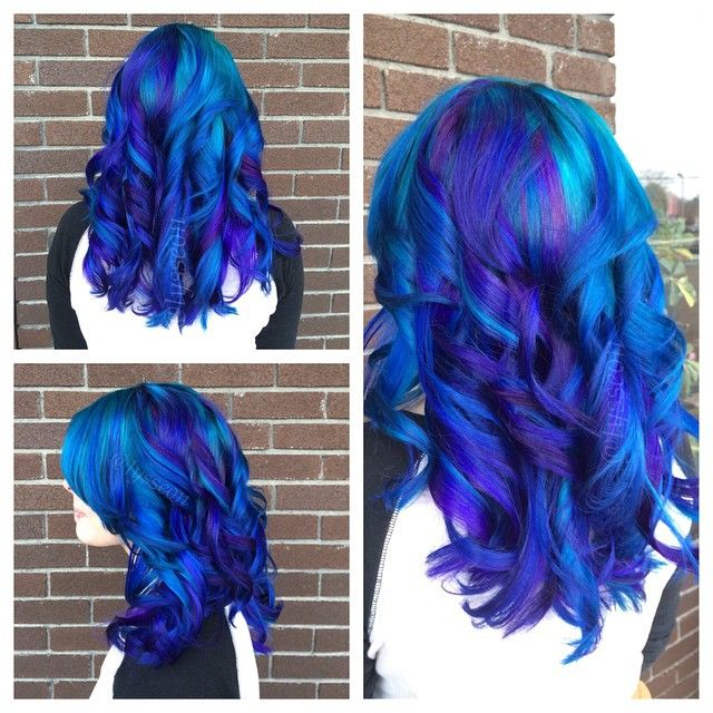 gorgeous blue and purple hair