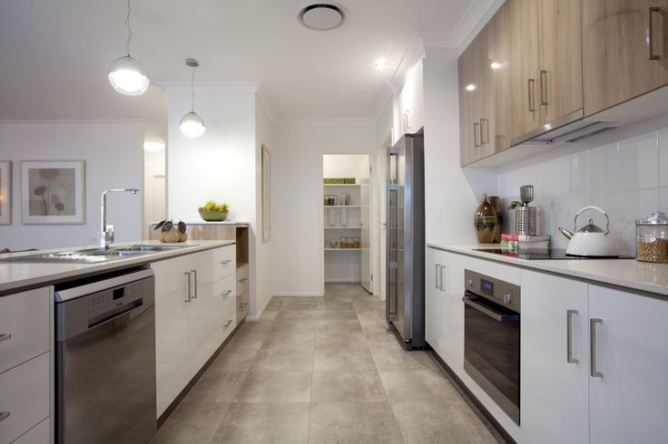 parallel kitchen design with walk in pantry at the end kitchen