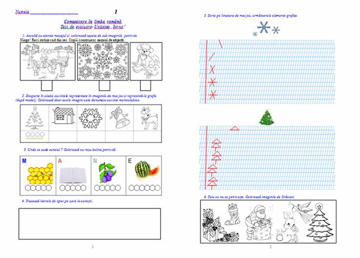 """Materiale didactice de 10(zece): Fișă de evaluare (C.L.R.), Unitatea tematică """"Iarna"""", clasa pregătitoare"""