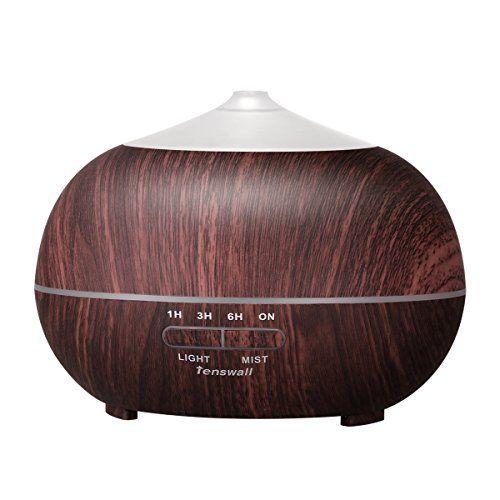 Tenswall 400ml Humidificateur Ultrasonique Diffuseur Aromatherapie Humidificateur d'Huiles Essentielles Humidificateur Grain Du Bois…