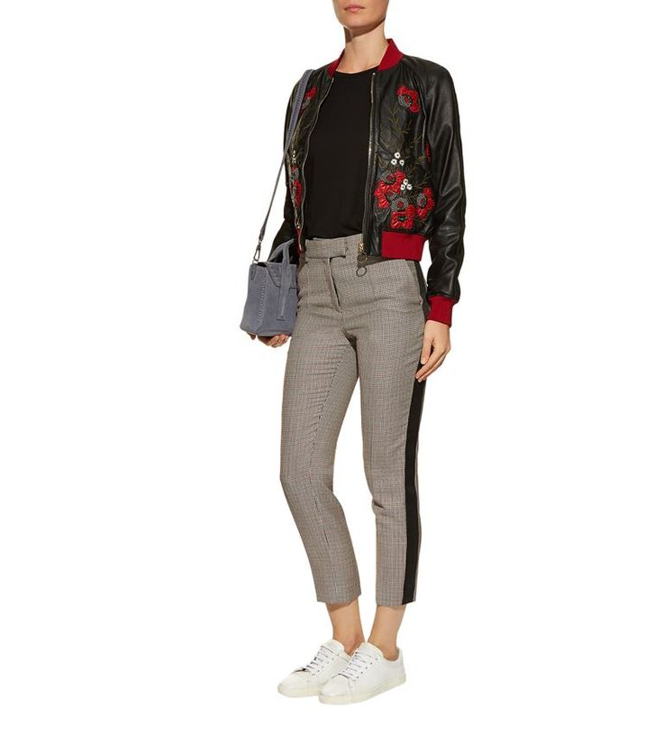 Women: Jackets Pinko Embroidered Leather Bomber Jacket