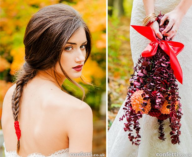 Autumn bride hair and make up ideas and bridal bouquet inspiration   Confetti.co.uk