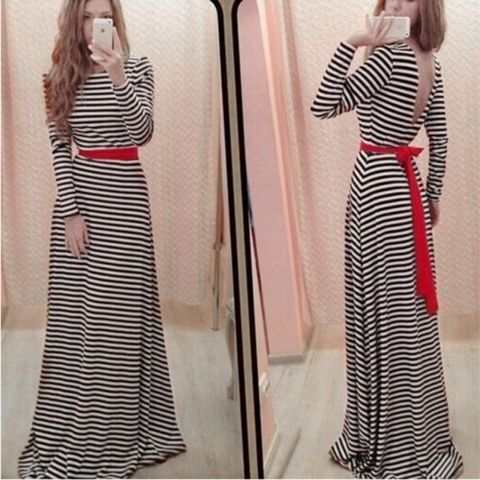 Elegant Striped Backless Maxi Dress With Belt – Daisy Dress For Less