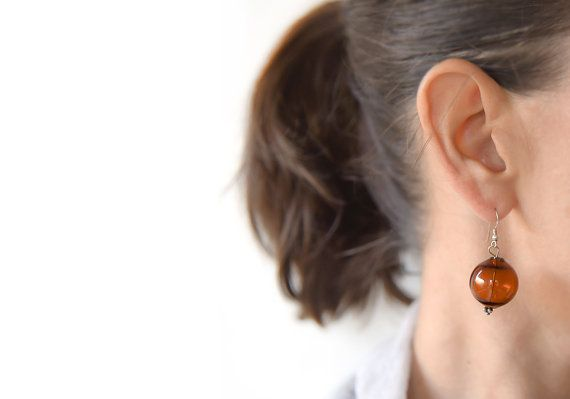 Blown glass earrings Silver earrings Murano earrings by BeadABoo