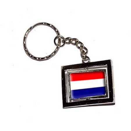 Netherlands Country Flag New Keychain Ring, Silver