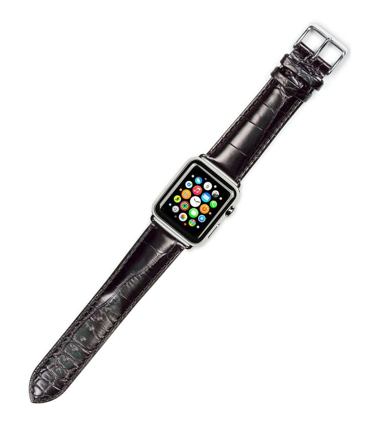 Debeer Replacement Watch Band - Crocodile Grain - [Long Length] - Black - Fits 38mm Apple Watch [Black Adapters]. deBeer brand replacement watch strap for 38mm Apple Watch. Long Length. About 1 inch longer than stock strap. Genuine Italian Calf Leather. Great way to customize your Apple Watch for different occasions. Choose polished silver or polished black adapters.