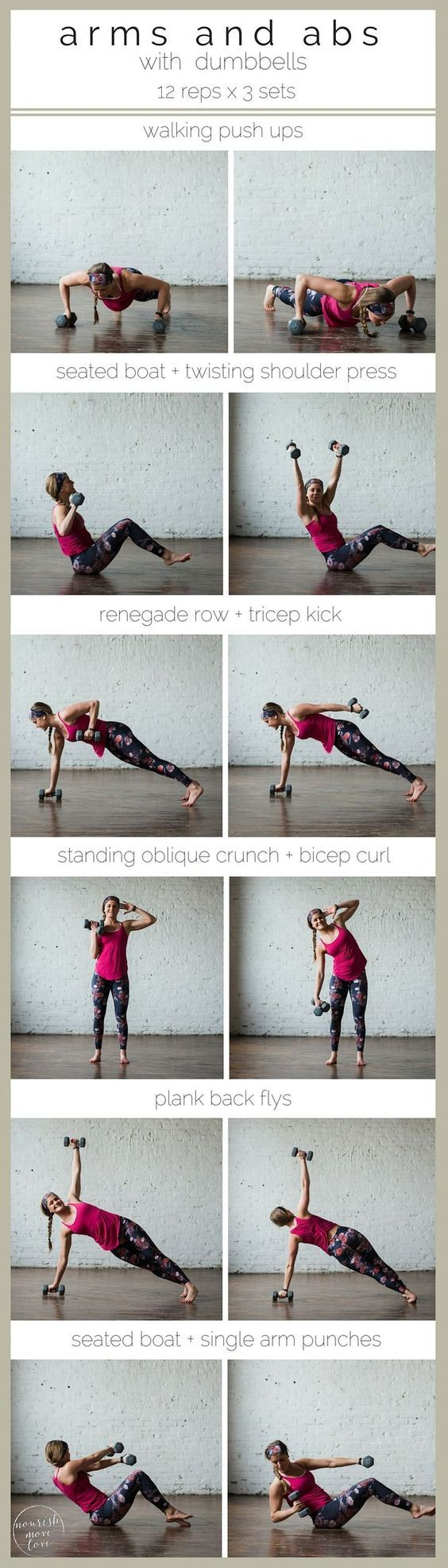 6-move arms and abs workout to strengthen and tone |6-moves, 20 minutes, and a set of 5-15 pound dumbbells is all you need to move through this arms and abs strength training and toning workout. | www.nourishmovelo...